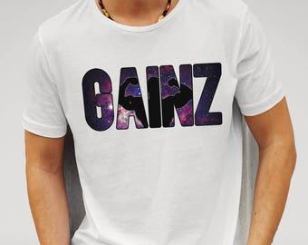 Mens Gainz Nebula Space Gym Fitness - White T-shirt
