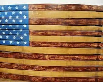 Wine Barrel Stave American Flag, Oak Barrel Furniture, Americana, American Flag Yard Art, American Flag Decor, Napa Valley Wine Furniture