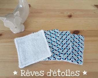 Washable wipes sponge bamboo and blue geometric cotton