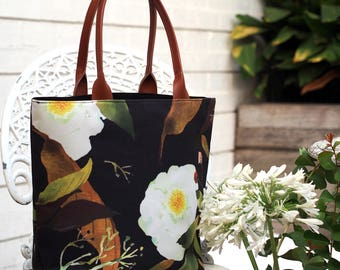 Large Elegant Black White Green Floral Canvas Tote Bag, Handbag, Work bag with zipped closure - Paeonia Bloom