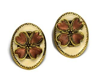 Vintage 1980s Metal and Enamel Earrings, Dogwood Flower Layered Pierced Earrings, Cream and Copper
