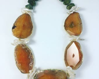 Orange Agate and Freshwater pearl statement necklace
