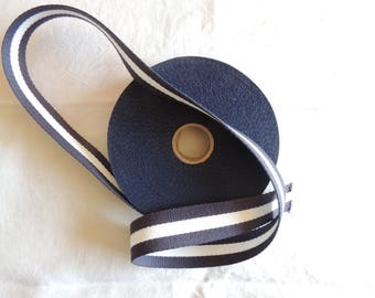 Strap cotton bagagere two-tone blue and cream width 3 cm