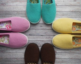 Women's Handmade Shoes, Crochet shoes, Comfortable Shoes, cotton, Made to Order