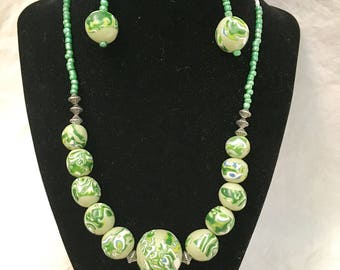 Polymer Green Beaded Necklace and Earring Set