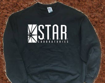 Star Labs Sweatshirt, STAR Laboratories Flash The TV Series S.T.A.R. Labs, Star Labs Unisex Hooded Shirt Pullover
