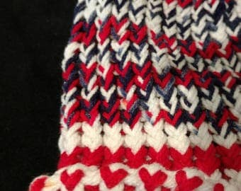 Red White and Blue knitted cap