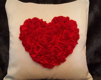 Limited Edition, Handmade Designer, Luxury Mother's Day Love Red Heart Roses 3D Cushion Cover