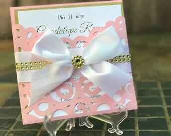 Pink y gold Invitaciones para Quincenera/bautizó/primera communion/boda/confirmacion/baby shower para cualquier ocasion.