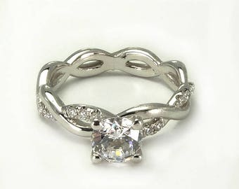 Semi Mount Infinity Design Micro Pave Set Diamond Tangled Engagement Ring Basket Center Setting 1/4 ct. t.w(center is not included)