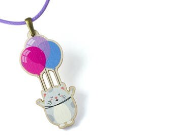 Kids Jewellery Necklace WOODEN ***FLYING CAT***