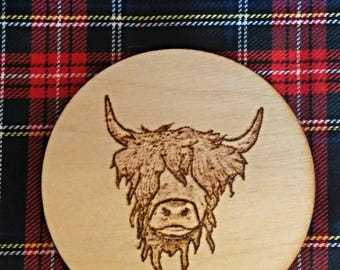 Luxury Scottish Highland Cow Art Wooden Coaster