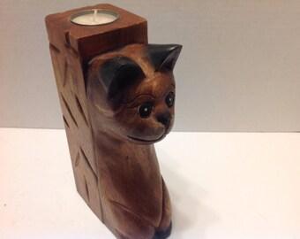 Hand Carved Wood Cat Tealite Holder