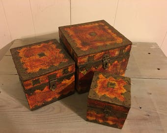 Vintage Handmade Wooden Box Set of 3