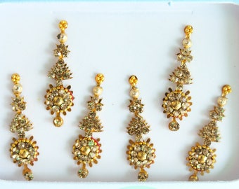 6 Gold Face Bindis Jewels,Wedding Long Bindis Sticker,Festival Bindis,Gold Bindis,India Bindi,Bollywood Bindis,Bindis,Self Adhesive Stickers