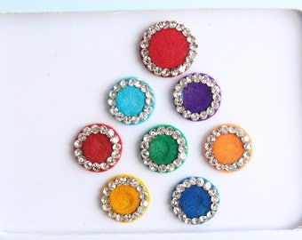 8 Multicolored Bindis ,Round Bindis,Velvet Colorful Bindis,Wedding Round Face Jewels Bindis,Bollywood Bindis,Self Adhesive Stickers Pack