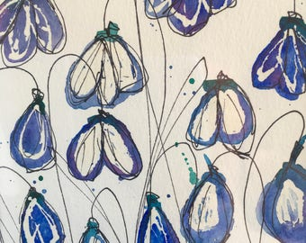 Original Watercolour, Snowdrop Painting, art, home decor, original artwork gift, gift for her, art for her, bedroom decor, floral abstract
