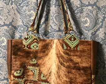 Custome made to order cowhide and leather diaper bags