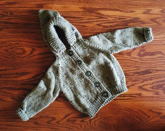 Baby Sweater Size 6-12 months, Knitting, Handmade, Baby Gift, Camo Green, Hooded Sweater, Buttoned Sweater, For Baby