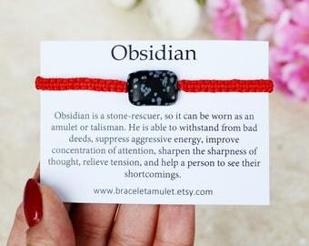 Healing bracelet Black Obsidian bracelet Red String Bracelet Protection amulet Evil eye bracelet Protection bracelet Zodiac bracelet