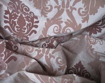 Rococo Baroque Flocked Dupion Silk Fabric Per Meter