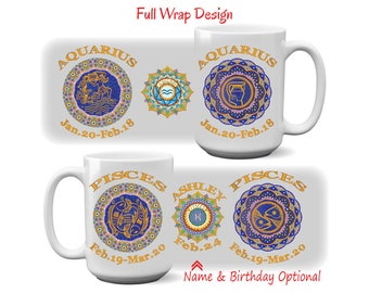 Zodiac Birthday Mug #5, Astrology Mug, Capricorn, Aquarius, Pisces, Aries, Taurus, Gemini, Cancer, Leo, Virgo, Libra, Scorpio, Sagittarius