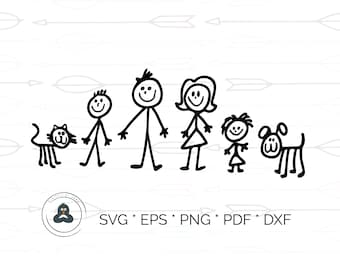 Stick men Svg, Stick Family Svg, Stick people Family and Pets Vectors, Stick People Clipart, Stick Family Clipart, Stick Pets Svg