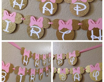 Minnie Mouse Birthday Banner (Minnie Mouse Party Decorations, Mickey Mouse clubhosue, Minnie Party decorations, 1st birthday party)