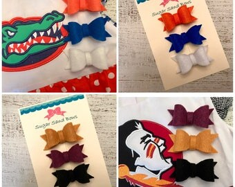 FSU/Gator Theme Felt Hair Bows