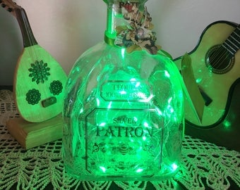 Patron liquior bottle, with Green LED LIGHTS and flower decorated Patron bottle for Patron lovers