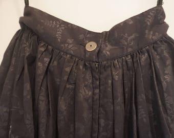Vintage Black floral calf length prairie style skirt