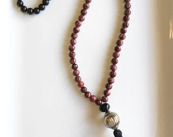 Maroon Jade/Onyx Long Tassel Necklace