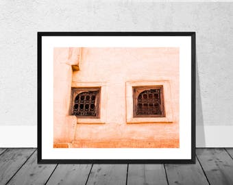 Morocco Art Print, Morocco Photography, Two Windows and Orange Wall, Marrakech, Colour Photography, Home Décor, Print, Bicycle Art