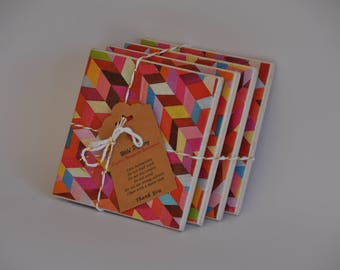 geometric  motif ceramic tile coasters