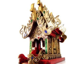 Spirit house made of wood and mosaic glasses from Thailand