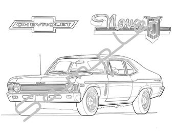 Muscle Cars of the 60s and 70s Vol.1 Adult Coloring Book