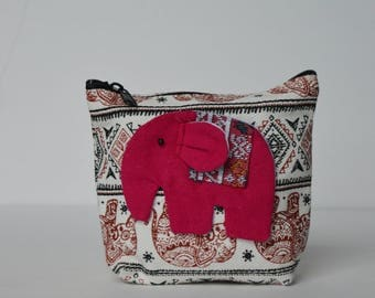 Pink on Red Elephant coin purse