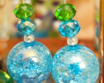 Mermaid Glass Crystal Earrings