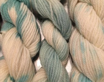 Hand dyed, commercially spun Mini skein (50 yard Tapestry yarn)