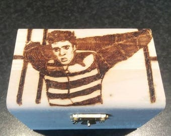Elvis Jailhouse Rock wooden treasure chest gift jewellery box - can be personalised if required