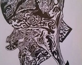 Black and white, tribal, random, ink and gel-pen.