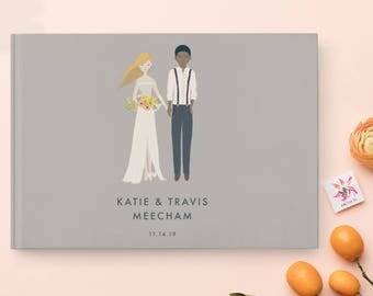 Unique Guest Book, Wedding Sign In Book, Interracial Couple, Photo Wedding Guest Book, Personalized Guest Book, Custom Guest Book,  07