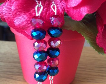 Deep Ruby Pink and Blue Glass Earrings