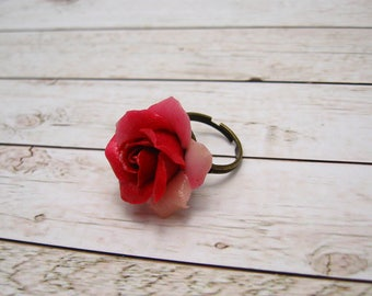 Rose ring polymer clay Flower ring adjustable ring pink Rose Jewelry handmade jewelry