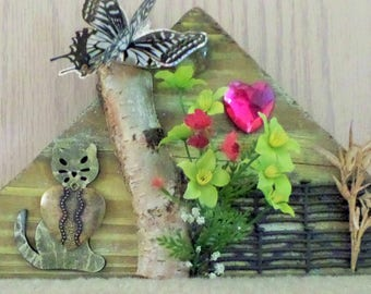 Construction Trash Art-Mixed Media design of a primitive scene of a cat in the yard
