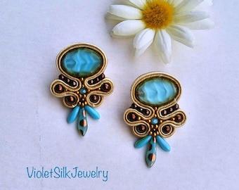 Embroidery soutache earrings,light blue, ivory, bronze, Fashionable trending earrings
