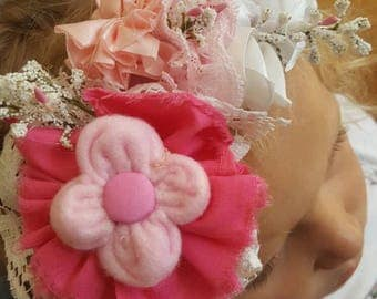Pink and white wreath flower headband. Handstiched flowers