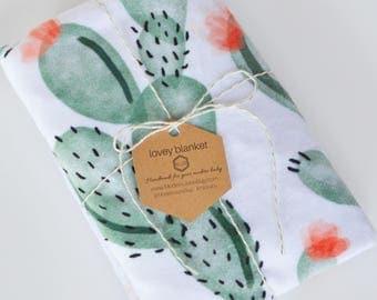 Baby Girl Lovey Blanket | Minky Cactus Lovie | Toddler Security Blanket | Cacti Floral Baby Blanket | Mini Snuggle Blanket |Girl Shower Gift