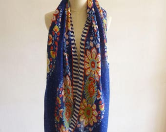 Blue Floral Patterned Shawl/ Women's Scarves/Beach Shawl Wraps