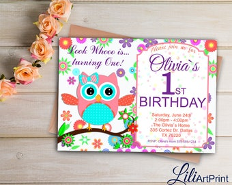 Owl Birthday Invitation, First Birthday Invitation, Owl Invite, Owl First Birthday Party, Digital file 17